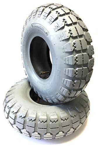 CSR rolstoelbanden 2 stuks 5.30/4.50-6, grijs + 2 stuks binnenband hoekventiel, stabiele 4PR bandenopbouw met krachtig blokprofiel, banden voor elektrische mobiel, scooter, E-rolstoel, voor Meyra Optimus 2
