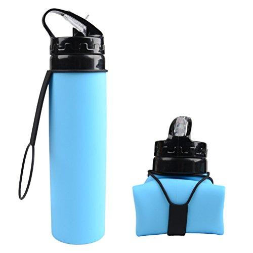 LIOOBO Botella de Agua Plegable de Silicona Botella de Bebida Deportiva BPA...