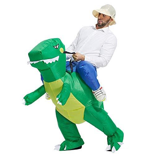 goedheid Auf dinosauriern reiten, auf dinosauriern reiten, auf aufblasbaren kostümen, auf grünen dinosauriern, auf aufblasbaren dinosauriern. (Erwachsene.)