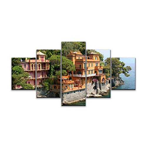 5 panels Wall Art Print On Canvas seaside villas near portofino, italy tuscany stock pictures, royalty Modern Abstract Picture Poster for Home Decor Stretched and Framed Ready to Hang (60''Wx32''H)
