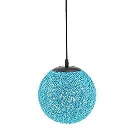 MagiDeal Lampe de Table en Rotin avec Câble Boule de Globe Plafond Suspension 20cm – bleu