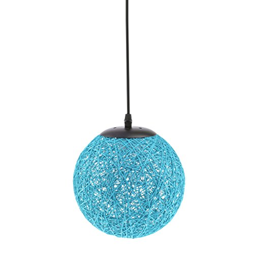 MagiDeal Nordic Style Rattan Wicker Ceiling Pendant Lampshade Hanging Decoration Lamp for Home Shop Decoration, 12 Colors - blue