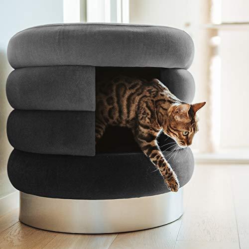 CanadianCat Company ® | Katzenhöhle, Katzenbett, Kuschelhöhle und Hocker für Katzen XL