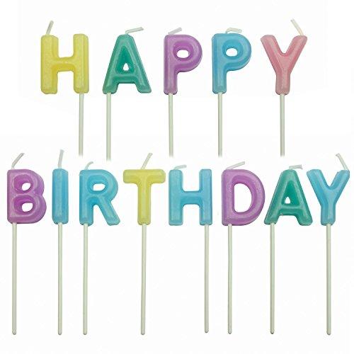 PME CA017 Pastellkerzen mit Geburtstagsgruß, Sortiment, 13-teilig, Kunststoff, Multicolored, 4 x 1.5 x 4 cm