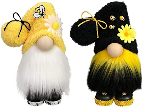 N\C 2pcs Bumble Bee Gnomes Felpa escandinavo Tomte Nisse Decoraciones suecas Elfos de Abeja, Adornos de Festival de Abejas