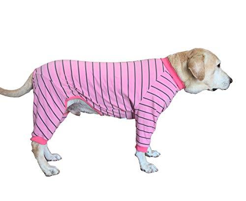 BT Beer Grote Hond Kleding, Elastische Klassieke Gestreepte Huisdier Kleding Bescherm Gewrichten Anti-Haar Vierbenige Hond pyjama Hond Jumpsuit Voor Medium Honden Grote Honden Labrador Gouden Retriever, 9: Back length--65cm, roze