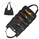 OFNMY Canvas Tool Roll Organizer,Tool Roll Up Bag & Wrench Organizer,Wrench Roll Pouch with 5 Pockets,Tool Organizer Bucket for Electrician,HVAC, Plumber, Carpenter or Mechanic - Black