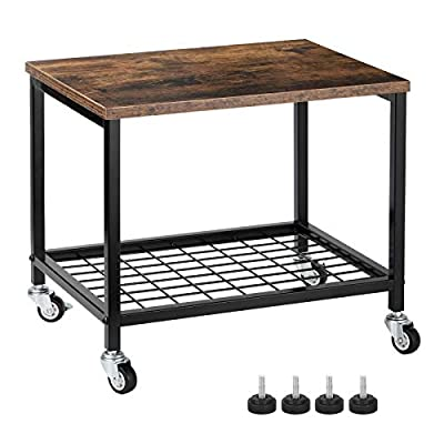 Under Desk Printer Stand, 2 Tier Printer Cart Rack with Storage Shelf, Lockable Wheels, Metal Frame, Industrial Rolling Printer Table Stand for Office, Home, Scanner, Printer - Rustic Brown