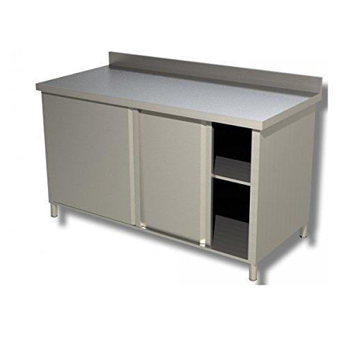 Edelstahlschrank mit Arbeitsfläche und Schiebetüren, Maße: 100 x 60 x 85 cm