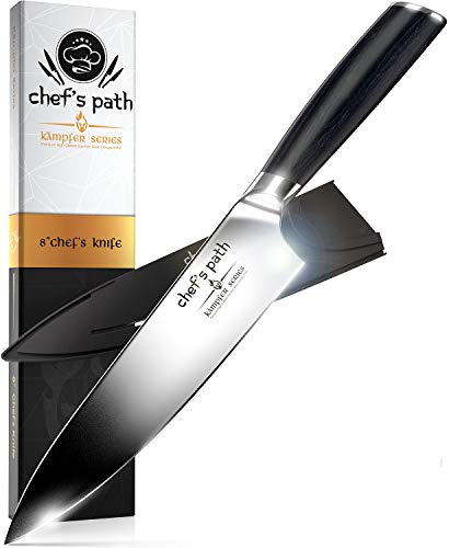Kitchen Knife, Chef Knife 8 Inch - Professional Chefs Knife - German High Carbon Stainless Steel - Best Value with Sheath & Exquisite Gift Packaging - Ultra Sharp Cooking Knife - CHEF'S PATH