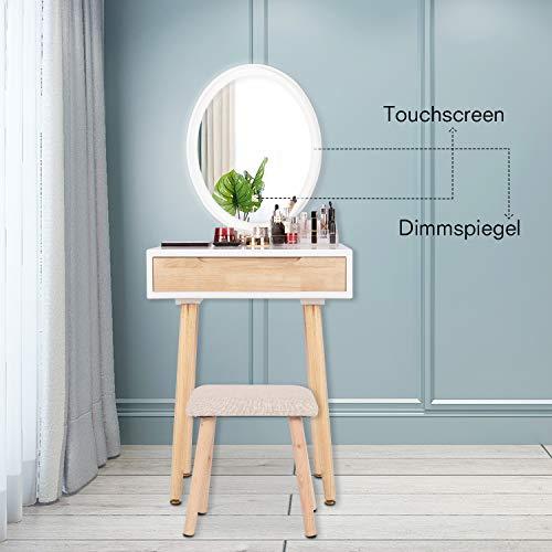YU YUSING Schminktisch LED-Beleuchtung Kosmetiktisch mit gepolstertem Hocker Frisiertisch Spiegel Schublade Kommode Make-up Tisch, Wohnzimmer, Modern,Holzfarbe