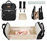 Pasutewel 5-in-1 Travel Bassinet Foldable Baby Bed Diaper Bag Backpack, Multi-Function Large-Capacity, Portable Bassinets for Newborn Baby, Travel Crib Infant Sleeper, Baby Nest with Mattress (Black)
