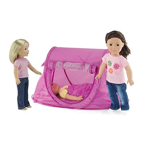 18-inch Doll Camping Accessories Set for American Girl Dolls | No Poles to Assemble! | Pop-up Doll Camping Tent for 14 to 18 Inch Dolls, including Doll Sleeping Bag | Fits American Girl Dolls