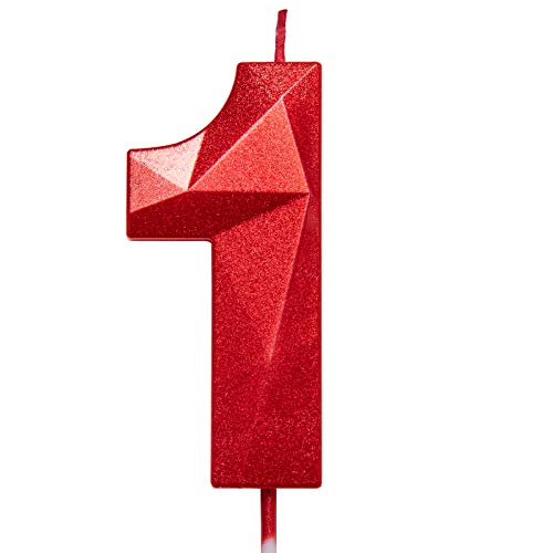 2.75in Tall 3D Diamond Shape Bright Red 1 Candles, Red Color Happy Birthday Cake Toppers Decorating and Celebrating for Adults/Kids Party/Family Baking (Bright Red Diamond Shaped 2.75in Number 1)