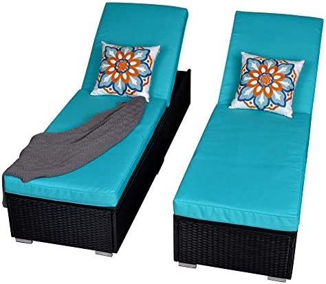 Best Patio Outdoor Chaise Lounge Chair, Adjustable PE Wicker Chaise Lounge Chair with Removable Cushion (