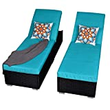 Patio Outdoor Chaise Lounge Chair, Adjustable PE Wicker Chaise Lounge Chair with Removable Cushion (2, Black)