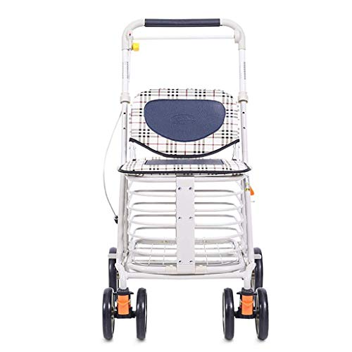 Carritos de compra Trolley Sky El asiento de la carro plegable del scooter mayor puede tomar cuatro rondas de compras de compra, compras de carro de empuje Un carro para almacenar temporalmente produc