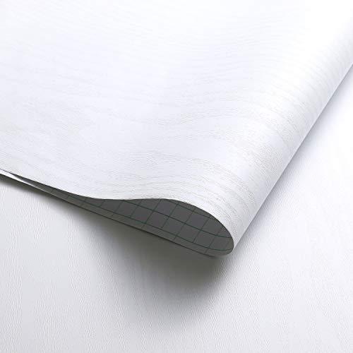 KINLO Adhesivo de Muebles para Cocina 1 Rollo 0.61 x 5 m Vata de Madera Autoadhesivo Papel Pintado PVC Pegatina Armarios Resistete a Agua Hogar Decorativo - Rayas Blancas
