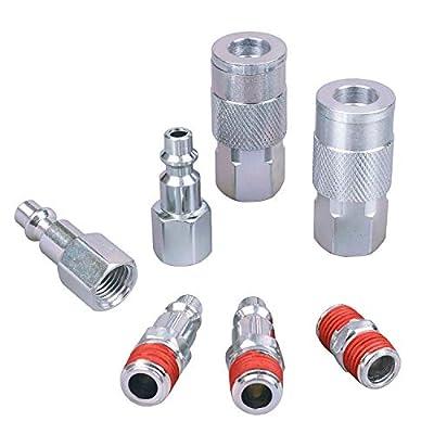 "WYNNsky Air Tool Coupler and Plug Kit, 1/4"" NPT Fittings Industrial Type I/M, 7 Piece w/ Storage Case …"