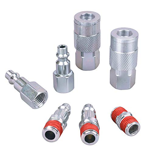WYNNsky Air Coupler and Plug Kit, 1/4 Inch NPT Air Fittings Industrial Type, 7 Piece Air Compressor Accessories Kit