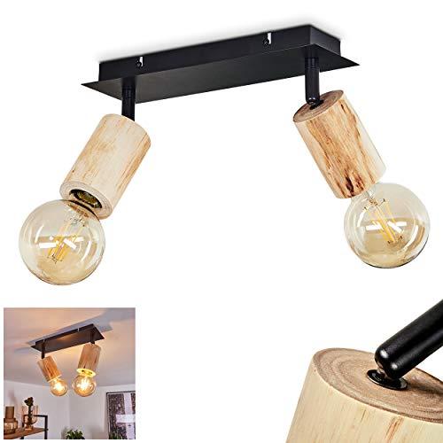 Deckenleuchte Vasanello, Deckenlampe aus Metall schwarz und Holz, Retro/Vintage Look Zimmerlampe 2-flammig, 2 x E27 max. 60 Watt, Leuchtenköpfe sind beliebig schwenkbar, für LED Leuchtmittel geeignet