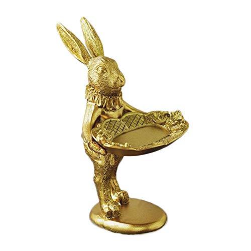 Milageto Hasen Figuren Osterhase Osterdeko Ostergeschenk Osterfigur mit Schale für Schmuck, Praline oder Schockoeier