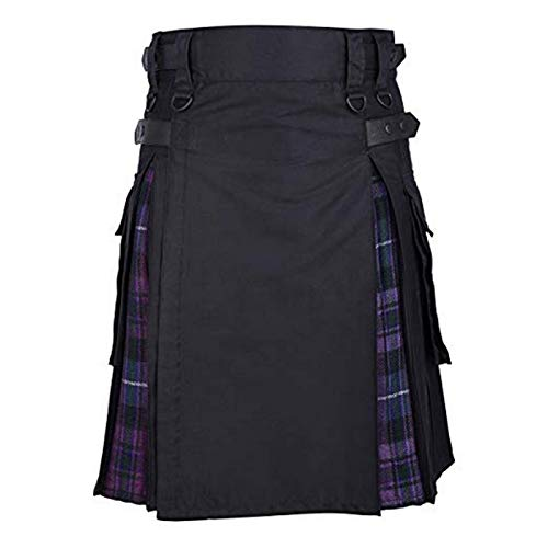 Kilt Rock Scottish Mens Kilt Traditioneller Plaidgürtel Plissee Bilaterale Kette Braun Gothic Punk Scottish Tartan Hosenrock New Asiansizexl Purplea