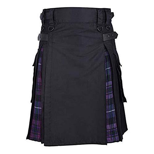Kilt Rock Scottish Mens Kilt Traditioneller Plaidgürtel Plissee Bilaterale Kette Braun Gothic Punk Scottish Tartan Hosenrock XXL Color3