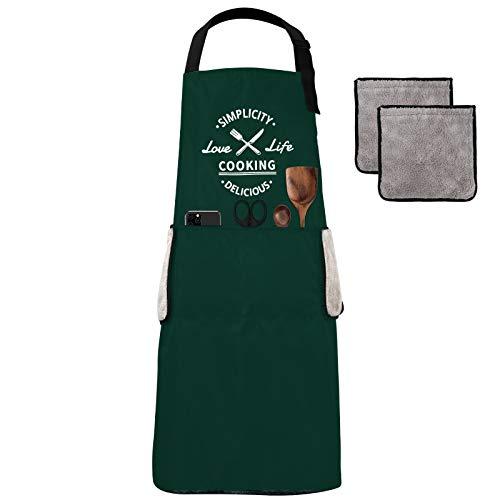 KAMEUN Delantal de Cocina Impermeable con Tira de Cuello , Ajustable 3 Bolsillos y 4 Toalla absorbente removible para Restaurante Barbacoa Cocinar Hornear