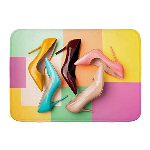 Alfombra de baño, Zapatos de Mujer de Colores Brillantes sobre Alfombrillas de decoración de baño sólidas y lujosas con Respaldo Antideslizante