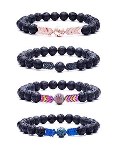 VALIJINA 8mm Lava Rock Stone Bead Bracelet for Women Men Adjustable Arrow Essential Oil Diffuser Bracelet Set