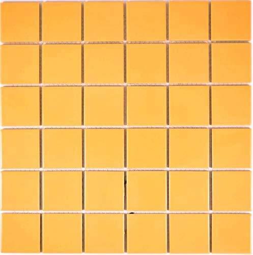 Mosaico de azulejos de cerámica amarillo brillante para pared, baño, ducha, cocina, espejo, revestimiento de bañera, 1 alfombrilla