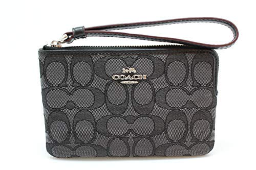 Coach Outline Signature Corner Zip Wristlet F58033 Black Smoke/Black