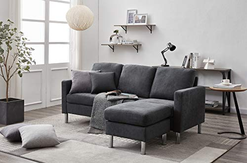 Panana 3 Seater Sofa with Footstool Fabric Grey Sofa for Living Room Modern Couch Corner Sofa with Reversible Chaise (Fabric Dark Grey)