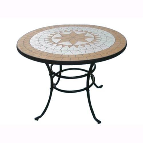 tavolo da giardino con sedie tondo TAVOLO TONDO IN ACCIAIO CON INTARSIO MOSAICO PER ARREDO GIARDINO ESTERNO