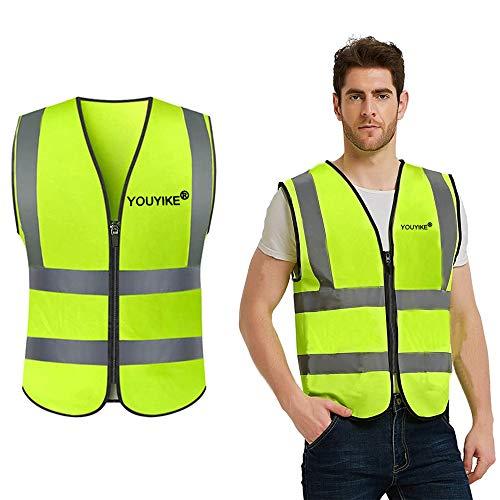 Trabajos al Aire Libre ,Chaleco Reflectante Seguridad, Alta Visibilidad Chaleco Reflectante de Seguridad con Cremallera para Trabajos al Aire Libre, Ciclismo, Caminar(Universales)