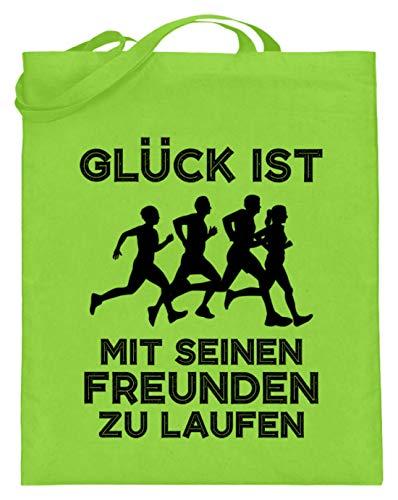 shirt-o-magic Jogger: Mit Freunden laufen - Jutebeutel (mit langen Henkeln) -38cm-42cm-Limetten Grün