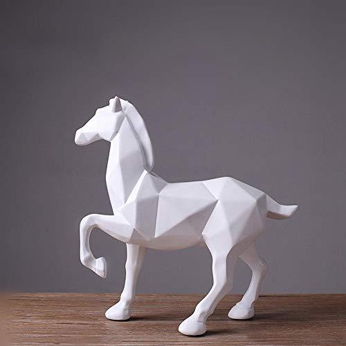 Standbeelden Ornamenten Abstracte Witte Paard Standbeeld Hars Ornamenten Home Decoratie Accessoires Voor Cadeau Geometrische Hars Sculptuur