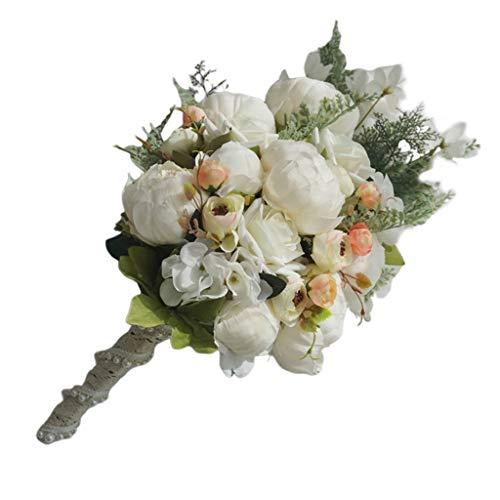 HANMAX Wasserfall-Art-rustikale künstliche Pfingstrosen-Brautstrauß-Fälschungs-Anlagen, die Blume mit Imitat-Perlen-Hochzeitsfest-Stützen halten kaskadieren