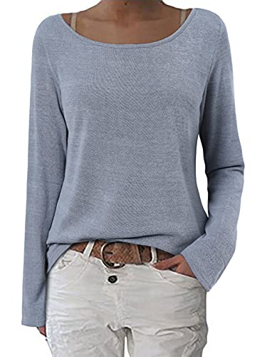 ZANZEA Mujer Camisetas Holgada Cardigan Manga Larga Suelta Blusa Jersey Pullover Casual Tops Gris L