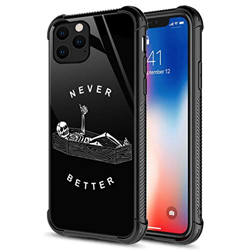 iPhone 11 Pro Case, Never Better Skeleton iPhone 11 Pro Cases, Tempered Glass Back+Soft Silicone TPU Shock Protective Case for Apple iPhone 11 Pro
