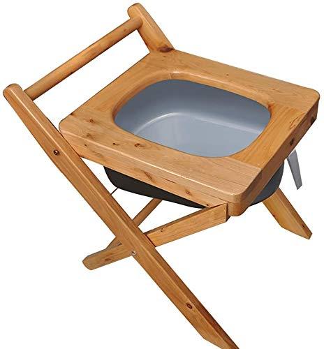 FREIHE Toilet stoel Opvouwbare nachtkastje commode stoel, dik massief hout, zware badkamer anti-slip douche kruk, geschikt voor gehandicapten, ouderen, zwangere vrouwen