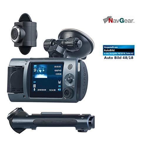 NavGear Dashcam mit Zwei Kameras: Full-HD-Dashcam mit 2 Objektiven, 150° Ultra-Weitwinkel, Marken-Sensor (Dual Dashcam)