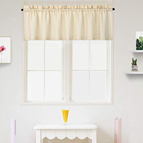 IDEALHOUSE Cream Beige Curtain Valances,Draperies Curtains for Cafe,Bathroom & Kitchen or Kids Bedroom Rod Pocket Short Window Curtains (1 Panels, 15 Inch Wide by 60 Inch Long)