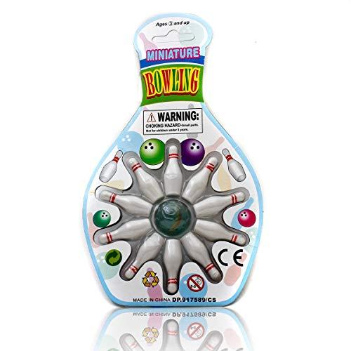 GOODS+GADGETS Mini Bowling Set Miniatur-Bowling Kegel-Spiel mit Kugel im Büro, Pausenraum, UVM (Kegelspiel)