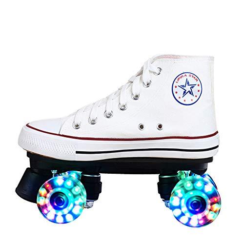 Led Quad Skates Schuhe Herren Rollschuhe Mädchen Damen Skates Blades Rollerskates Für Erwachsene Kinder Jungen Mädchen Retro Design Mit Buntem Lichtrahmen,LEDWhite-39