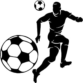 Large Silhouette Vinyl Soccer Wall Decals (Male Player and Ball) (Black)