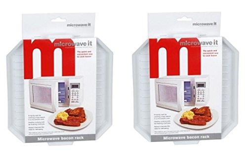 2 x Microwave It Plastic Microwave Bacon Rack Bacon Crisper Defrosting Tray