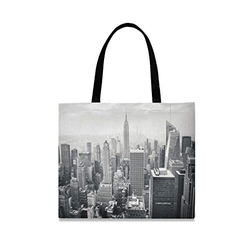 New York City NYC Large Women Canvas Tote Bags Casual Shoulder Bag Handbag for Girl Manhattan Balck White Grocery Shopping Bag Books Laptop Gym Bags for Outdoor School Work Travel Beach Sports