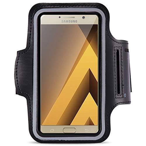 Jogging Tasche kompatibel für Samsung Galaxy A5 2017 Jogging Tasche Handy Hülle Sportarmband Fitnesstasche Bag, Farben:Schwarz